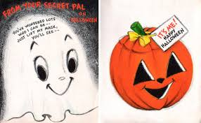 cute tiny white ghost and funny jack o lantern vintage halloween