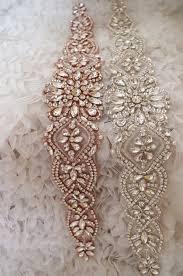 rose gold rhinestone sash belt rose gold crystal floral by lacefun