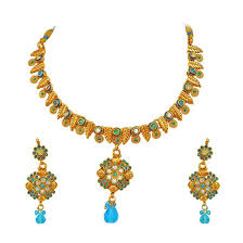coloured stone necklace images Buy surat diamond blue coloured stone gold plated necklace jpg