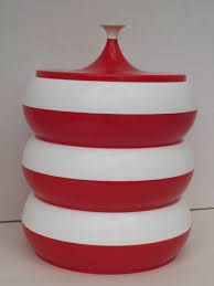 1950 u0027s red white round stackable plastics consolidated canister
