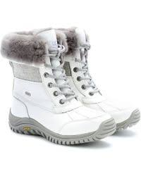 ugg s adirondack tweed boots white ugg adirondack tweed shearlinglined leather boots in white lyst