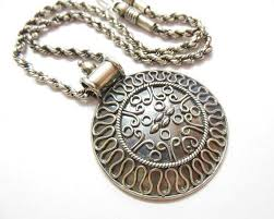 medallion necklace silver images Buy round bold medallion pendant necklace sterling silver ethnic jpg