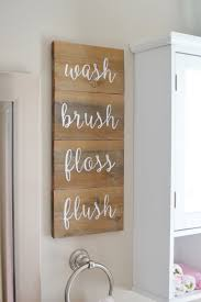 Diy Wood Home Decor Wash Brush Floss Flush Wooden Sign In Kids Bathroom Stenciled