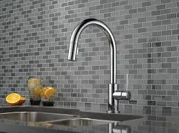 chrome kitchen faucets delta 9159 dst trinsic single handle pull kitchen faucet