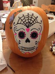sugar skull painted pumpkin for halloween halloween pinterest