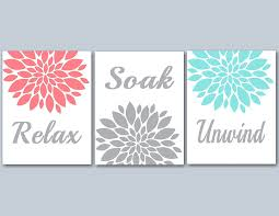 Bathroom Wall Art Ideas Decor Bathroom Decor Coral Teal Bathroom Wall Art Coral Gray Bathroom