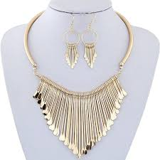 bib necklace metal images Womens metal tassels pendant chain bib necklace and earrings jpg