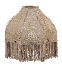 Chandelier Lamp Shades With Beads Victorian Antique Buff Pleated Chiffon And Embroidered Panels Lamp