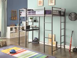 Wood And Metal Bunk Beds Grey Stained Metal Bunk Bed With Black Laminated Wooden Study