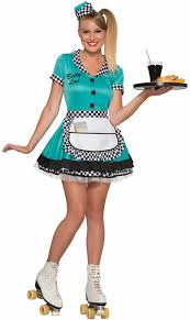 Womens Cheerleader Halloween Costume Teal 50 U0027s Waitress Betty Lou Costume Candy Apple Costumes