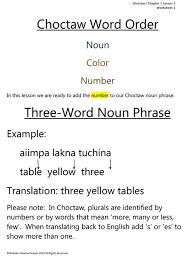 lesson three of choctaw language