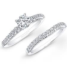 white gold bridal sets 18k white gold prong set white diamond bridal set