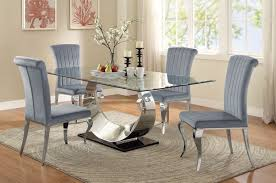 manessier chrome dining room set from coaster coleman furniture manessier chrome dining room set