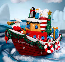 christmas tugboat bucilla felt 3d home decor kit 86204 fth