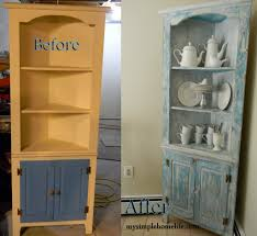 decorating antique chippy corner hutch with glass door for home