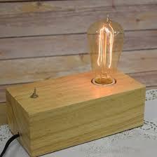 single long vintage edison wood desk block table desk lamp light