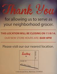 lucky supermarket closing on nov 8th in pleasant hill beyond