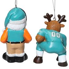 miami dolphins reindeer santa 2 pack ornament set
