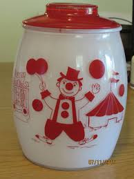 vintage bartlett collins glass cookie jar red and white circus