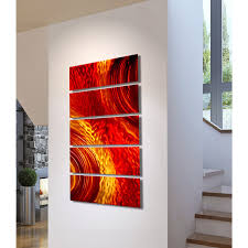 red and gold home decor magma red and gold metal wall art 5 panel wall décor by jon