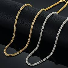 jewelry silver chain necklace images 52cm mens thin silver chain 4mm silver color hollow chains round jpg