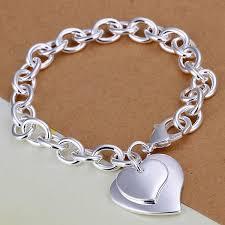heart pendant bracelet images French silver double heart charm bracelet amosh european jewellery jpg