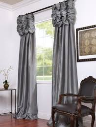 Faux Silk Embroidered Curtains Platinum Embroidered Ruched Faux Silk Taffeta Curtains