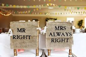 burlap chair covers burlap and lace mr right mrs always right wedding chair cover