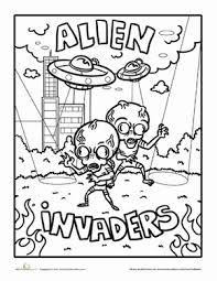 creepy coloring pages alien invaders worksheet education com