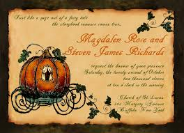 vintage fall fairy tale wedding invitation cinderellas carriage