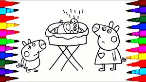 coloring page peppa pig george pig and baby alexander coloring