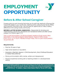 Caregiver Duties For Resume Available Positions Ymca Of Central Ohio