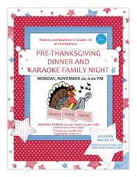 grades 1 8 pre thanksgiving dinner and family karaoke program