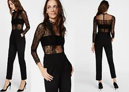 express black jumpsuit express black mock neck lace jumpsuit sz 6 sleeve nwt to