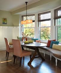 curved dining bench dining room eclectic with banquette bench