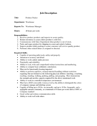 Resume Samples Warehouse Manager by Packer Job Description For Resume Free Resume Example And