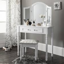 coiffeuse blanche si e avec miroir inclus coiffeuse miroir tabouret achat vente pas cher