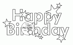 happy birthday letters card with stars coloring page for kids