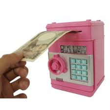 gift piggy bank safe atm bank cash machine coin note counter