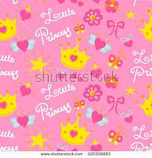 pink little princess pattern vector sweet stock vector 520328803