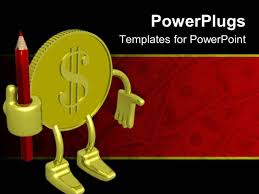 powerpoint template dollar bills with pot of gold coins on red
