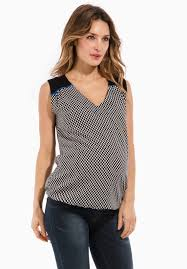 v shaped two tone maternity top with v shaped neckline
