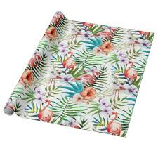 tropical wrapping paper flamboyant flamingo tropical nature garden pattern wrapping paper