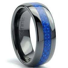 black wedding band 8mm dome men s black ceramic ring wedding band with blue carbon
