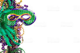 green mardi gras mardi gras background purple gold green mask stock photo
