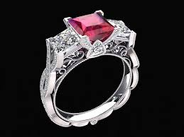 stone rings style images Lab grown 1 35 carat princess cut ruby and diamond three stone jpg