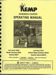kemp chipper shredder operating manual mulch mate yard tamer