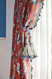 Red Blue Curtains Red Blue And White Curtains With Tassel Fringe Window Treatments