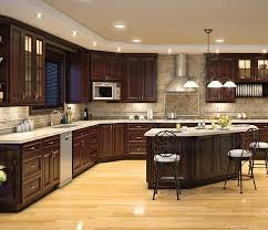 Fascinating Backsplash Ideas For L Shaped Small Kitchen Design Dark Chocolate Kitchen Cabinets With L Shaped Design And Dish