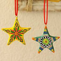 artisan crafted ceramic ornaments set of 6